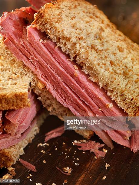 smoked meat sandwich - smoked food stock photos and pictures