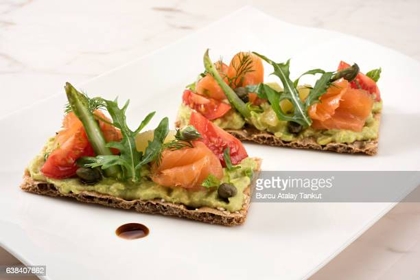 smoked salmon and avocado on wasa bread