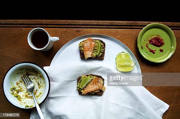 Smoked salmon and avocado sandwich