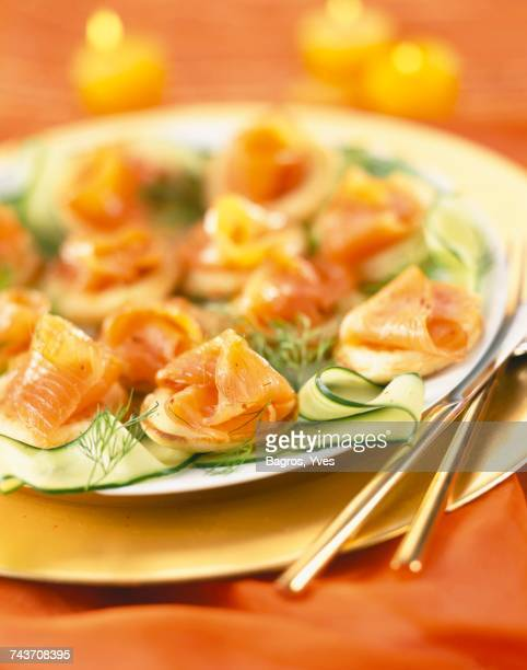 smoked salmon and courgette ribbon bites