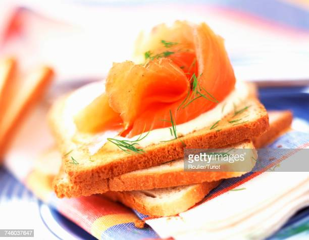 smoked salmon and cream on toast