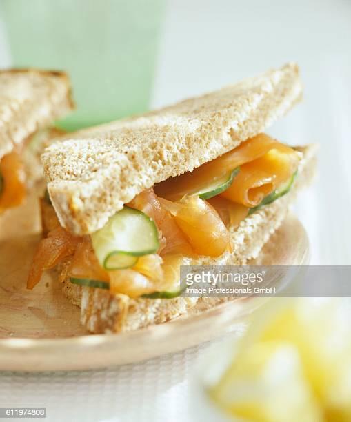 Smoked salmon and cucumber sandwich