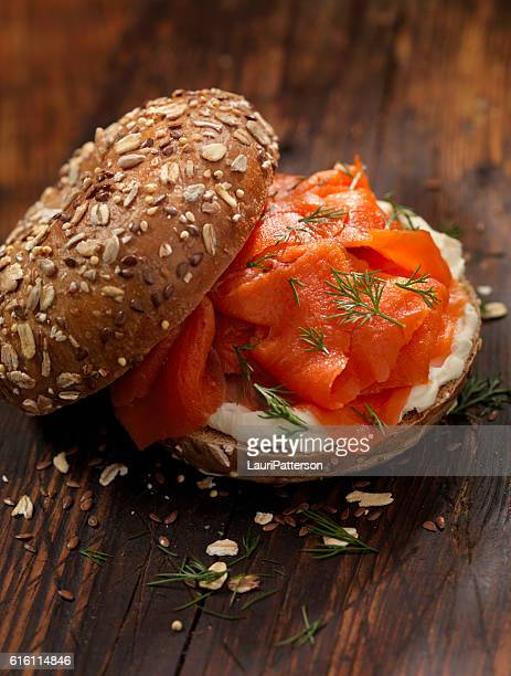 Smoked Salmon Bagel with Cream Cheese and Fresh Dill