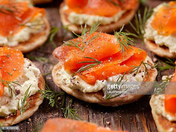 Smoked Salmon Bilini with Avocado Cream Cheese