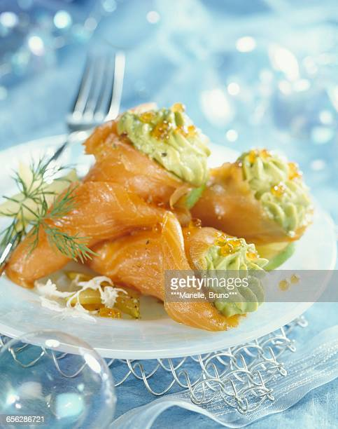 Smoked salmon cones filled with guacomole and crab