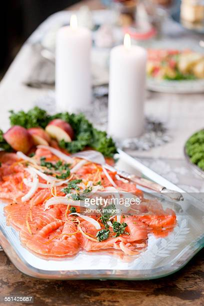 Smoked salmon on serving dish