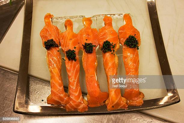 Smoked Salmon Oscar® Matzo with Osetra Cavier Master chef Wolfgang Puck creates the dishes that will be served at the Governors Ball the posttelecast...