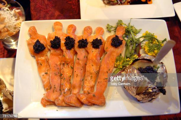 Smoked salmon Oscars are seen on display at the Govenor's Ball Press Preview held at the Hollywood and Highland Grand Ballroom February 1 in Los...
