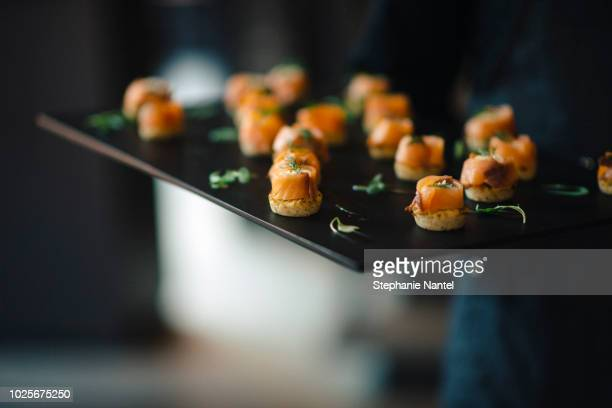 smoked salmon - appetizer stock pictures, royalty-free photos & images