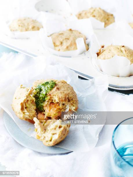 smoked salmon savoury muffins - savory food stock pictures, royalty-free photos & images