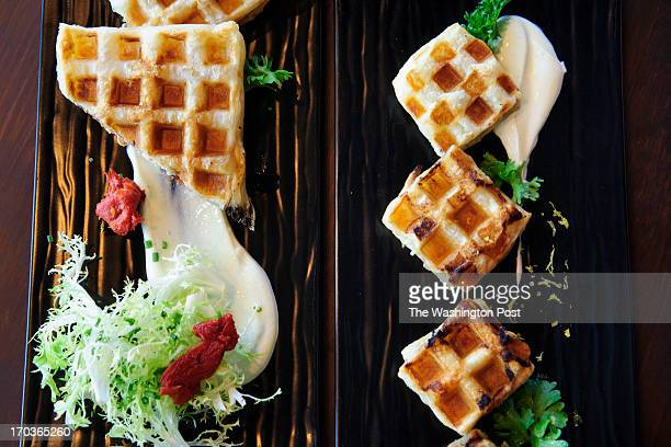 Smoked Salmon Waffles with Wasabi Yogurt can be prepared as individual waffles or in a sheet and cut to size for smaller portions as prepared in B...