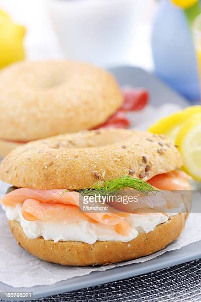 Smoked Salmon with cream cheese on a bagel