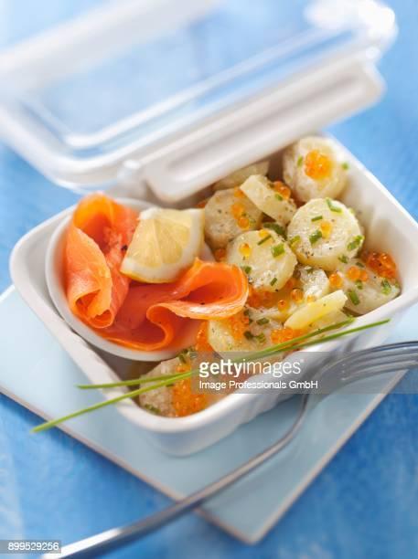Smoked salmon,potato and salmon roe salad