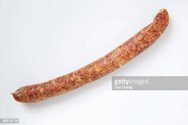 Smoked sausage, elevated view