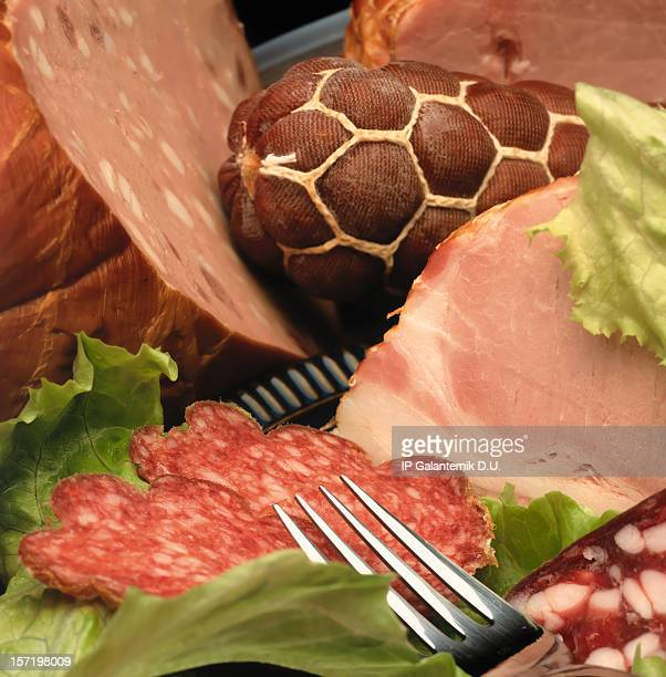 smoked sausage - baloney stock photos and pictures