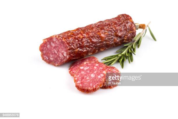 smoked sausage. top view. isolated on a white. - pepperoni stock photos and pictures