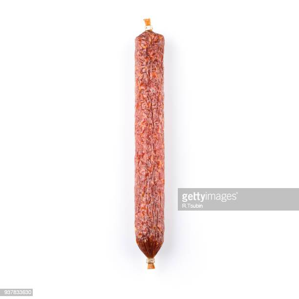 smoked sausage. top view - pepperoni stock photos and pictures