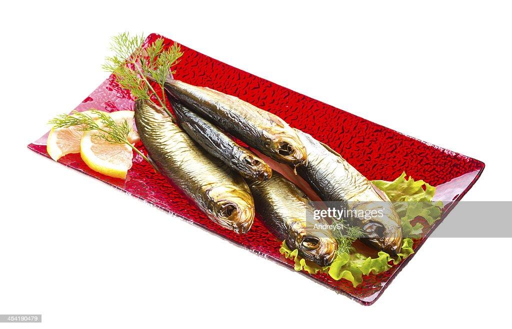 Smoked sprat - appetizing snack : Stock Photo