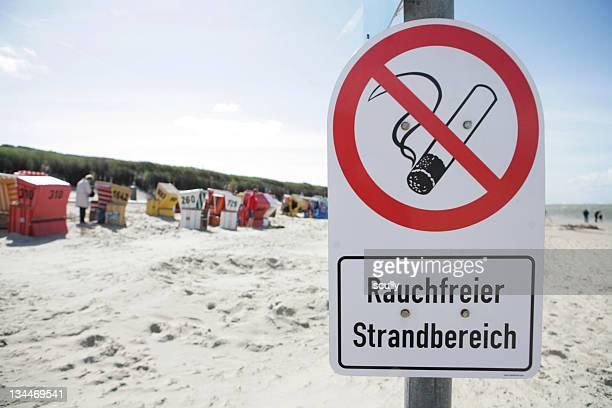 Smoke-free beach, sign, Langeoog island, East Frisian Islands, North Sea, Germany, Europe