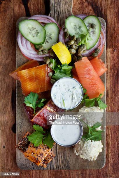 WASHINGTON DC Smokehouse Fish Board with Salmon Candy traditional Cold Smoked Salmon Hot Smoked Pepper Salmon Smoked North Carolina Rainbow Trout and...