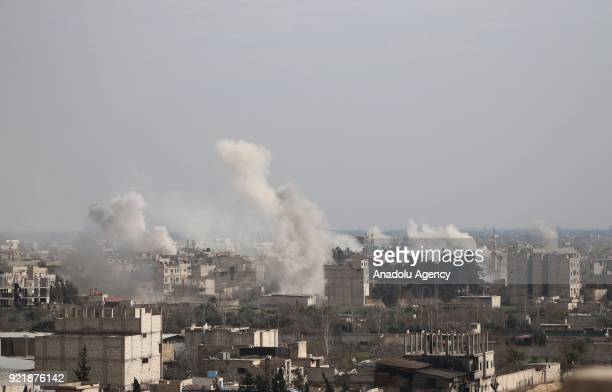Smokes rise after Assad Regime forces carrired out airstrikes over Arbin town of the Eastern Ghouta region which is a deescalation zone of Damascus...