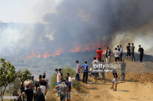 Smokes rise from the wildfire at Beni Douala town in Tizi Ouzou Province in northern Algeria on August 11, 2021. Ground and aerial extinguishing...
