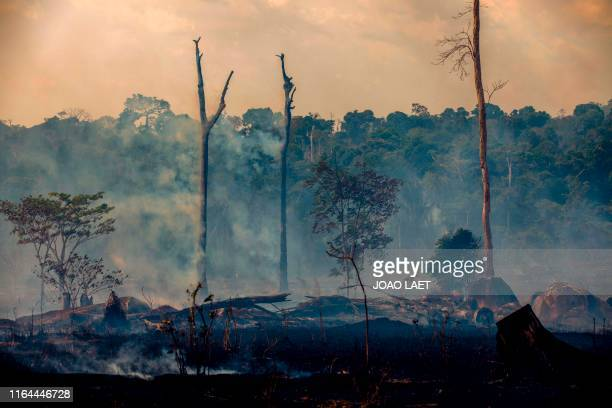 Smokes rises from forest fires in Altamira Para state Brazil in the Amazon basin on August 27 2019 Brazil will accept foreign aid to help fight fires...