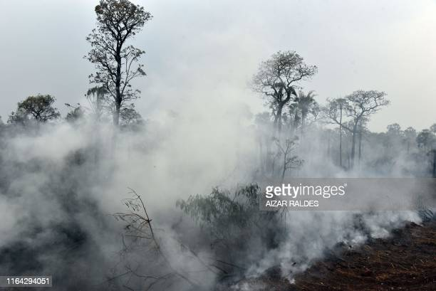 Smokes rises from forest fires in Otuquis National Park in the Pantanal ecoregion of Bolivia southeast of the Amazon basin on August 26 2019 Like his...