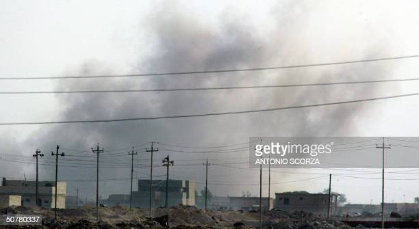 Smokes rises from the northeast area of the restive Iraqi city of Fallujah 28 April 2004 after a US attack US forces unleashed a barrage of air...