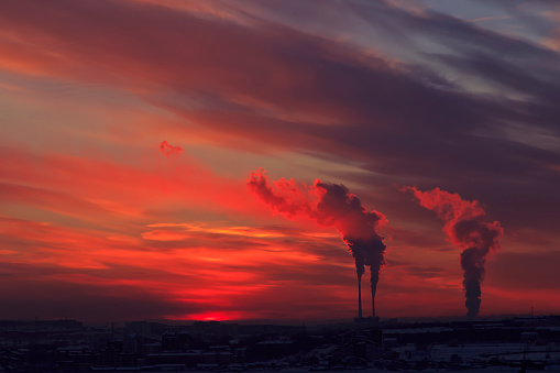Smokestacks at sunset, Irkutsk, Russia - gettyimageskorea