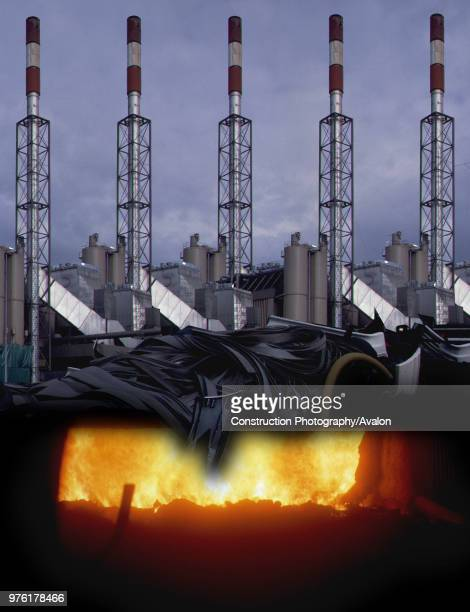 Smokestacks of combustion plants