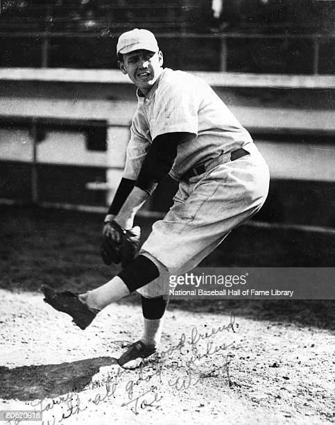 'Smokey' Joe Wood of the Boston Red Sox warms up in the bull pen before a game during the 1912 season in Boston Massachusetts
