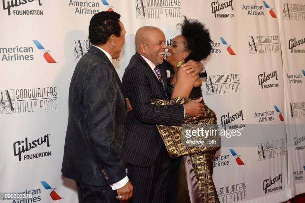 Smokey Robinson 2017 Inductee Berry Gordy and Rhonda Ross Kendrick attend the Songwriters Hall Of Fame 48th Annual Induction and Awards at New York...
