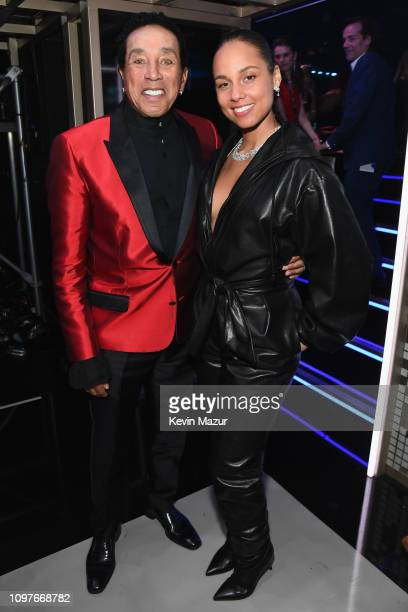 Smokey Robinson and Alicia Keys pose backstage during the 61st Annual GRAMMY Awards at Staples Center on February 10 2019 in Los Angeles California