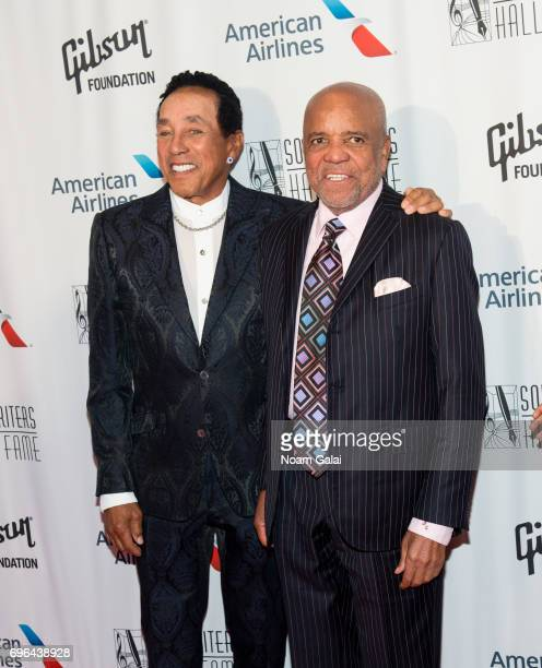 Smokey Robinson and Berry Gordy attend the 48th Annual Songwriters Hall Of Fame Induction and Awards Gala at New York Marriott Marquis Hotel on June...