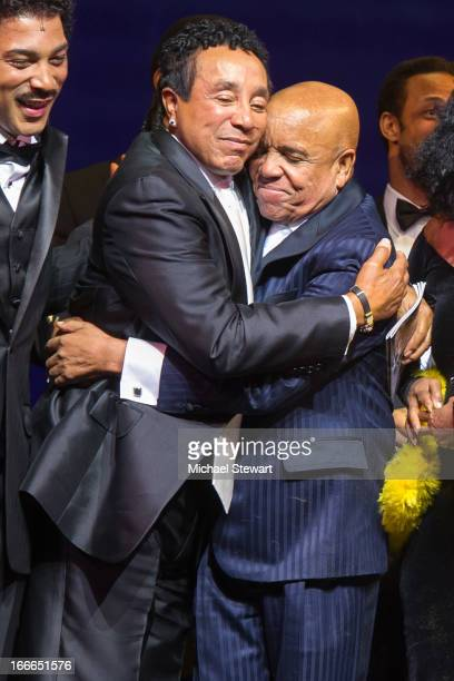 "Smokey Robinson and Berry Gordy Jr. Attend the Broadway opening night for ""Motown: The Musical"" at Lunt-Fontanne Theatre on April 14, 2013 in New..."