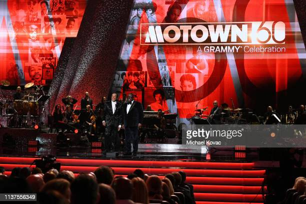 Smokey Robinson and Cedric the Entertainer speak onstage during Motown 60 A GRAMMY Celebration at Microsoft Theater on February 12 2019 in Los...