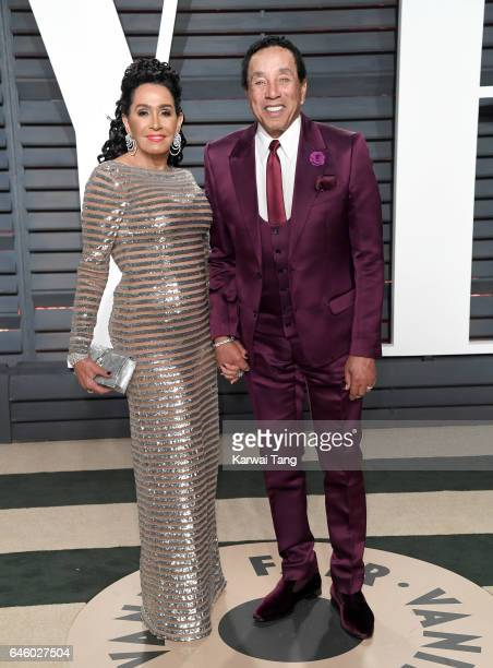 Smokey Robinson and Frances Glandney arrive for the Vanity Fair Oscar Party hosted by Graydon Carter at the Wallis Annenberg Center for the...