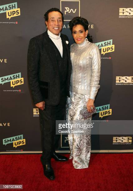 Smokey Robinson and Frances Glandney attend Primary Wave 13th Annual PreGRAMMY Bash at The London West Hollywood on February 9 2019 in West Hollywood...