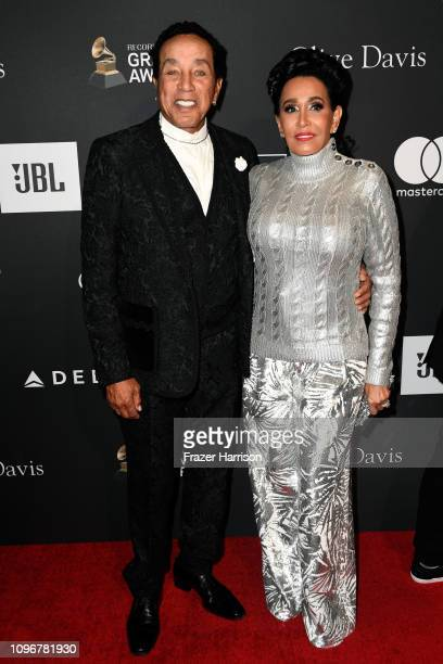 Smokey Robinson and Frances Glandney attend the PreGRAMMY Gala and GRAMMY Salute to Industry Icons Honoring Clarence Avant at The Beverly Hilton...