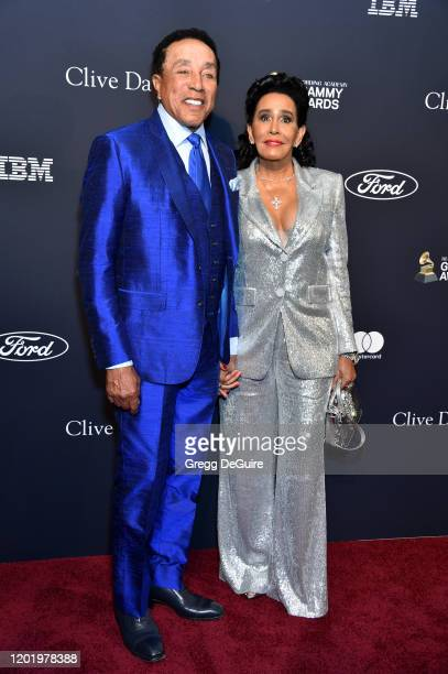 Smokey Robinson and Frances Glandney attend the PreGRAMMY Gala and GRAMMY Salute to Industry Icons Honoring Sean Diddy Combs on January 25 2020 in...