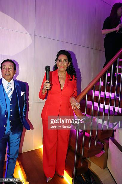 Smokey Robinson and Frances Glandney Robinson attend the Skinphonics Launch on October 19 2016 in New York City