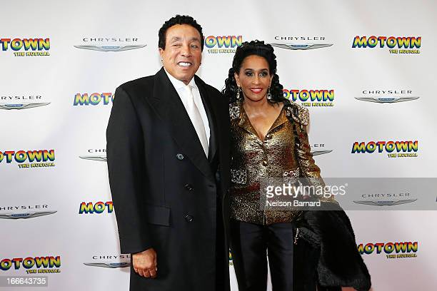 "Smokey Robinson and Frances Robinson attend the Broadway opening night for ""Motown: The Musical"" at Lunt-Fontanne Theatre on April 14, 2013 in New..."