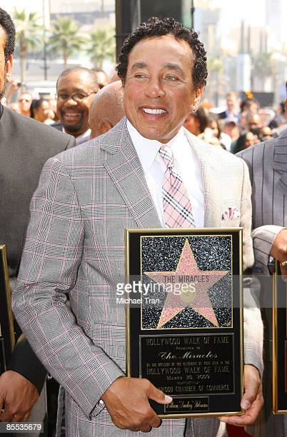 Smokey Robinson attends the ceremony honoring The Miracles with a star on the Hollywood Walk of Fame on March 20 2009 in Hollywood California