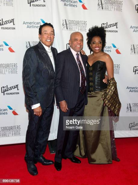 Smokey Robinson Berry Gordy and Rhonda Ross Kendrick attend the 48th Annual Songwriters Hall Of Fame Induction and Awards Gala at New York Marriott...