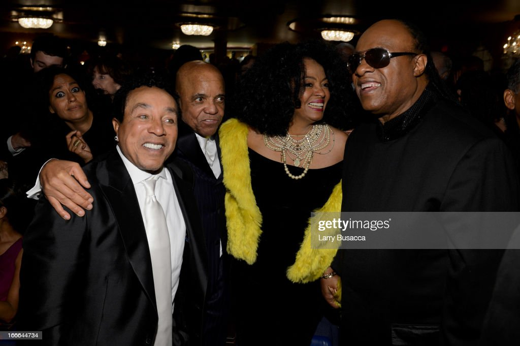 Smokey Robinson, Berry Gordy, Diana Ross and Stevie Wonder attend 'Motown: The Musical' Opening Night at Lunt-Fontanne Theatre on April 14, 2013 in New York City.