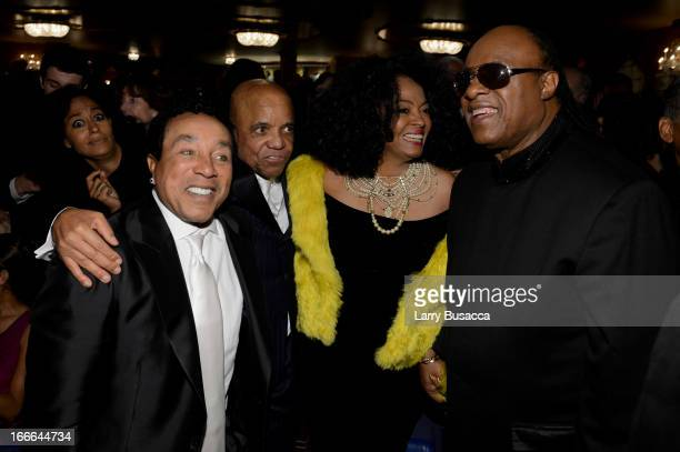 "Smokey Robinson, Berry Gordy, Diana Ross and Stevie Wonder attend ""Motown: The Musical"" Opening Night at Lunt-Fontanne Theatre on April 14, 2013 in..."