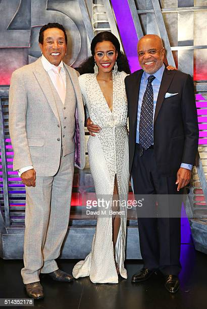 "Smokey Robinson, cast member Lucy St Louis and Berry Gordy pose backstage following the press night performance of ""Motown The Musical"" at The..."