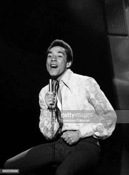 Smokey Robinson of Smokey Robinson and the Mircales performs on This Is Tom Jones TV show in circa 1970 in Los Angeles California