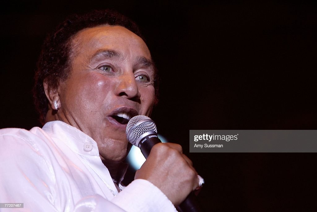 Smokey Robinson performs at the third night of the Bermuda Music Festival at the National Sports Center on October 5, 2007 in Bermuda.